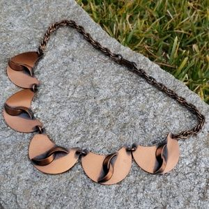 Vtg Unsig Renoir Copper Crescent Link Necklace